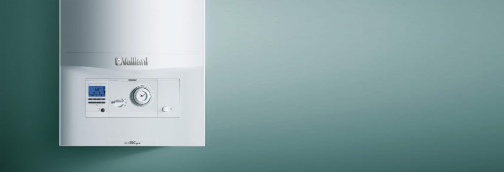 Vaillant boiler on turquoise background